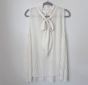 Addition Elle Cream Bow Pleated Blouse